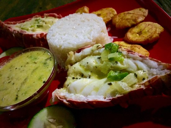 Grace's Place: Caribbean lobster with coconut sauce.