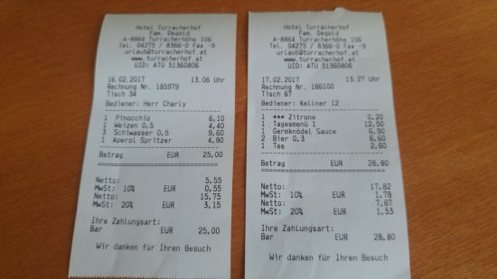 Turracher Hohe, Austria: bill