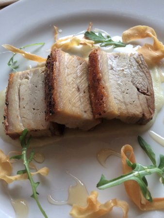 Staunton on Wye, UK: starter belly pork - delicious!