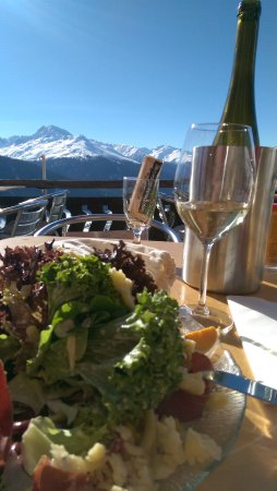 Davos Platz, Switzerland: Good food, good wine, good mood ;-)