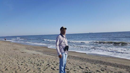Tybee Island Beach: Hubby meditating on the beach
