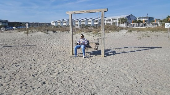 Tybee Island Beach: Nothing more relaxing than a swing while viewing the ocean.