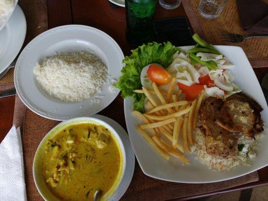 Rampart Restaurant: Shark steak, fries, rice and chicken curry