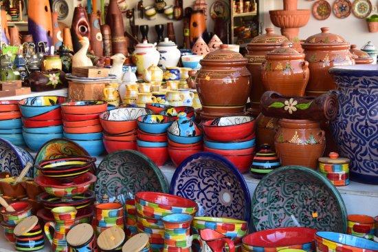 Arabian ceramic pottery in Purullena shops. Local market. Andalusian ceramic
