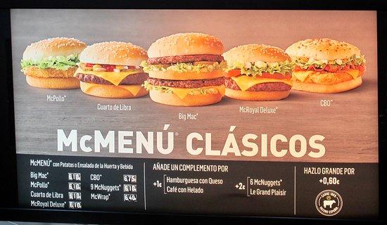 McDonald's Almunecar: Classic choices