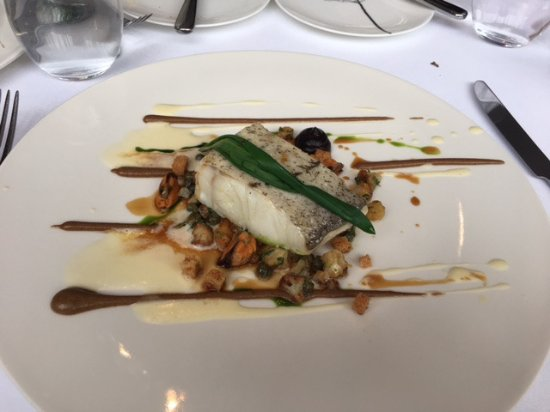 The Greenhouse: Line caught haddock with cauliflower, mussels, capters, black garlic and pureed cauliflower with