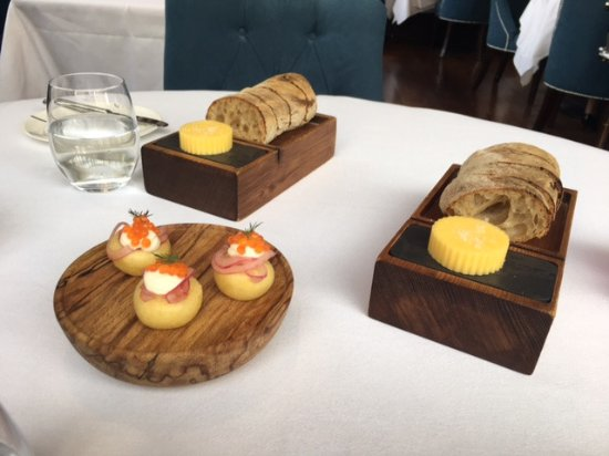 The Greenhouse: Irish bread & butter......plus a caviar canope that I wish I had 4 instead of 1.