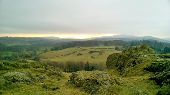 Bowness-on-Windermere, UK: View of the golden sunshine on the Irish Sea from Brant Fell