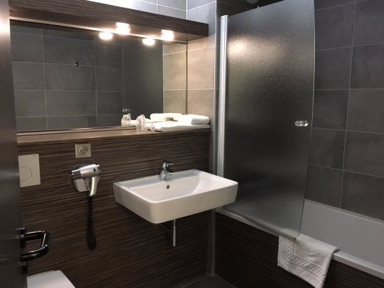 Tournon-sur-Rhone, France: Well equipped bathroom with a shower over the bath