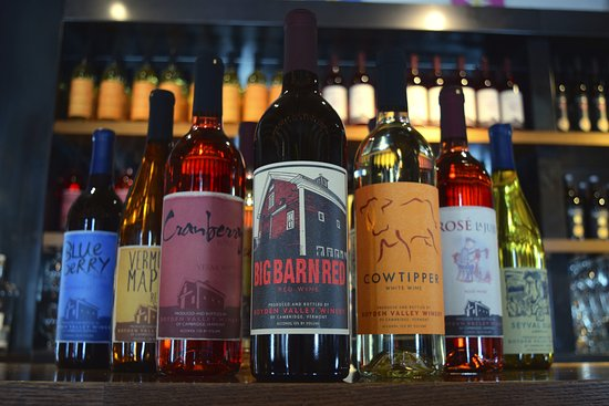 Cambridge, VT: A beautiful selection of our wines - both dry traditional grapes wines and sweeter fun fruit win