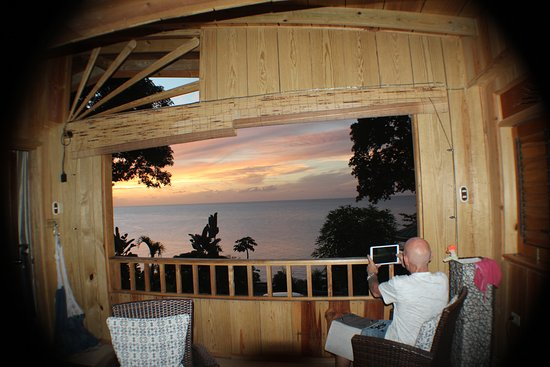Castara, Tobago: Evening view from inside Ginger Lily