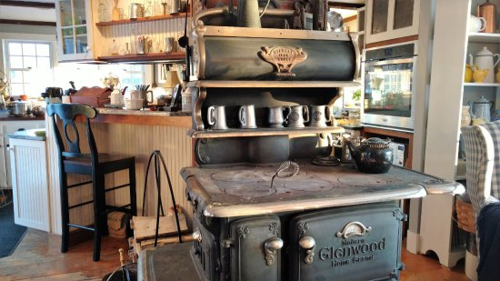 Hillsborough, NH: This wood-burning stove keeps the kitchen cozy on cold mornings.