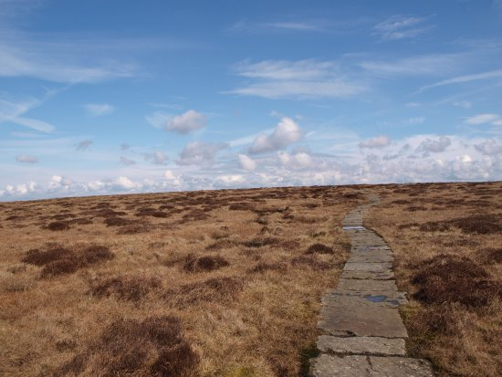 Peak District National Park, UK: Track slabs on route to Bleak Low