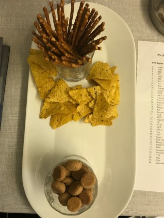 Harrislee, Germany: Velkomstdrink (bestilles på forhånd) og snackkurv (bestilles også på forhånd). Synes personligt