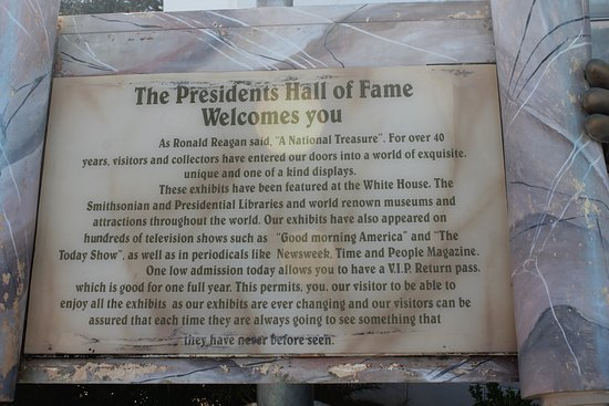 Presidents Hall of Fame: Welcome Sign