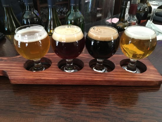 Idyllwild, CA: A flight of beer, larger, oatmeal stout, valentine brown, IPA