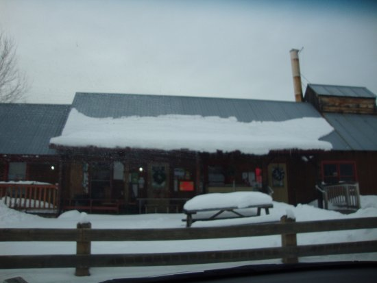 Montpelier, VT: Exterior of shop with deep snow in February