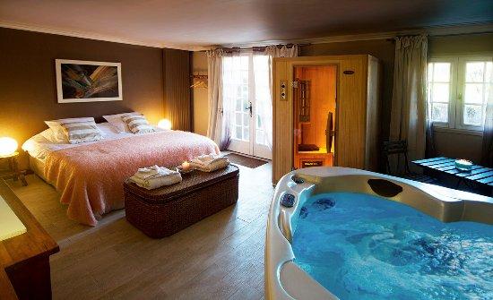 La Boissiere-Ecole, Francia: chambre louisiane avec jacuzzi et sauna privés