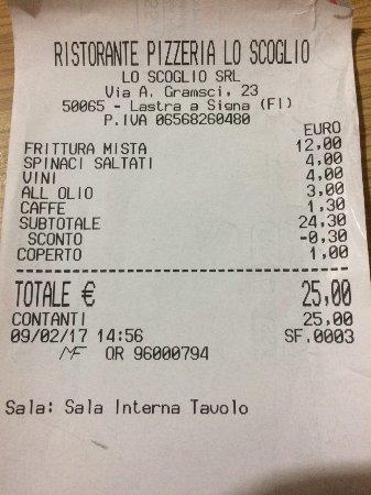 Lastra a Signa, Italia: Ricevuta fiscale