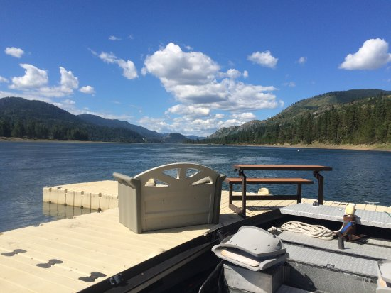 Northport, WA: View downriver from our private dock where your boat is welcome as one of our guests.