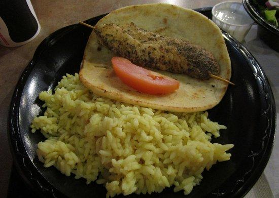 Fronimo's Greek Cafe: Chicken Souvlaki Plate served with lemon rice and side salad