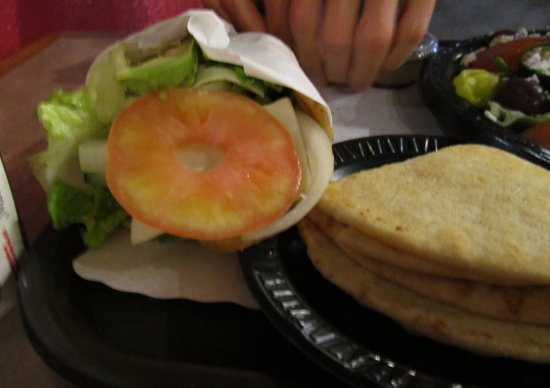 Fronimo's Greek Cafe: Veggie Pita Sandwich (left)