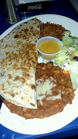 Beamsville, Canada: Shrimp Quesadilla - messy plate, lazy salad, store bought tortilla