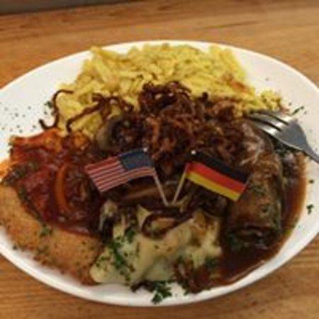 Amherst, NY: Swabian-USA Platter - Roulade, Maultasche, Schnitzel, Spaetzle, and House Salad.