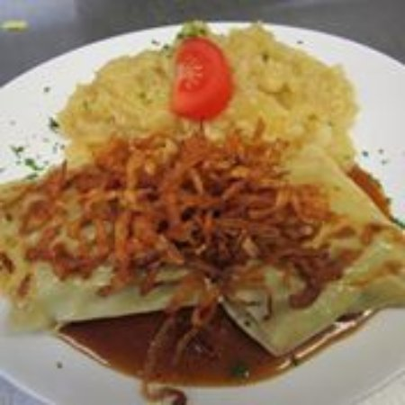 Amherst, NY: Maultaschen with homemade gravy and crispy onions with German Potato Salad