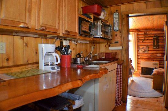 Josselyn's Getaway Log Cabins: Brookside kitchenette