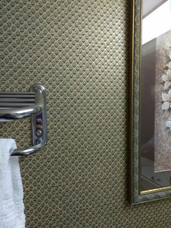 Greenville, NC: towelbar was broke - wallpaper makes your eyes hurt
