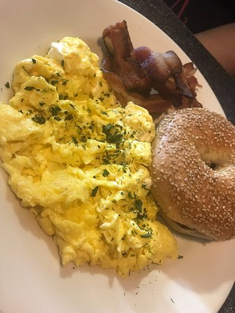 East Point, GA: Scrambled eggs and cream cheese with bacon and Bagel!
