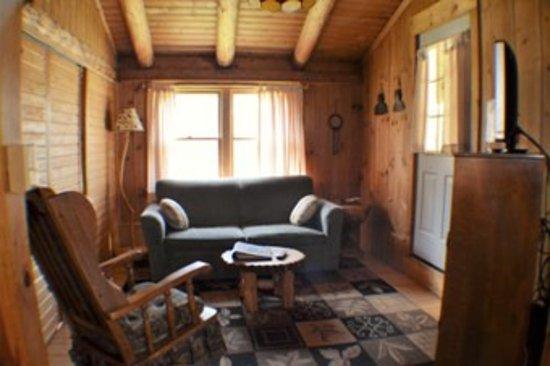 Josselyns Getaway Log Cabins Workshop Living Room