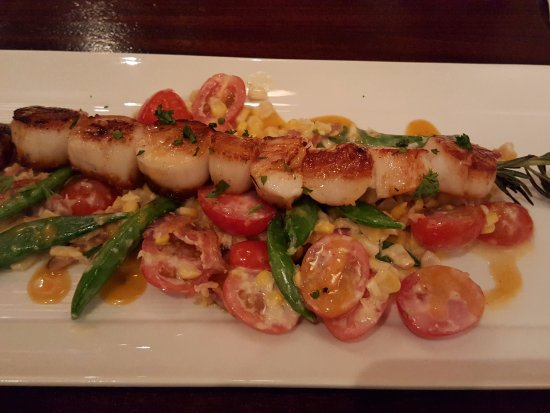 Westborough, MA: Yummy rosemary scallops with snap peas, tomatoes and roasted corn. Just delicious!