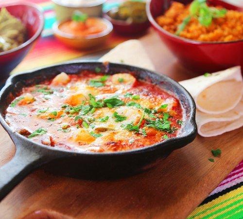 Montezuma's: #10 San Andres - Garlic prawns sauteed in ranchero sauce, jalapenos, capsicum, cheese & rice
