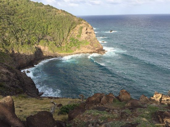 Mount Pleasant, Bequia: View of a cove from the bluff we hiked to