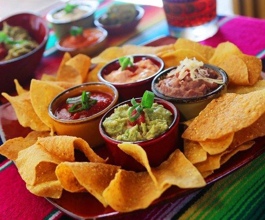 Montezuma's Mexican Restaurant: Combo Dips - Guacamole, Frijole Dip, Queso Fundido & Ranchero Sauce
