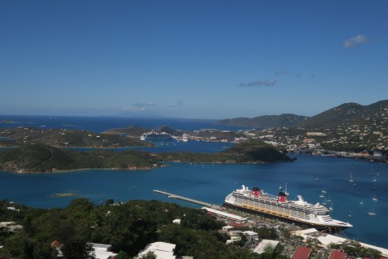 South Coast, St. Thomas: View of the Disney Fantasy from the top of Paradise Point Skyride