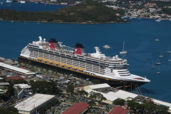 South Coast, St. Thomas: View of Disney Fantasy from middle of Skyride
