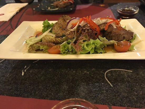 Kyoto Sushi: Beef , salmon roll with creme cheese, sashimi and crab and mango salad
