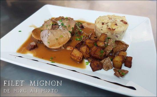 Ecully, Frankrike: Plat du jour : Filet-mignon de porc au porto, gratin de chou-fleur et pommes rissolées