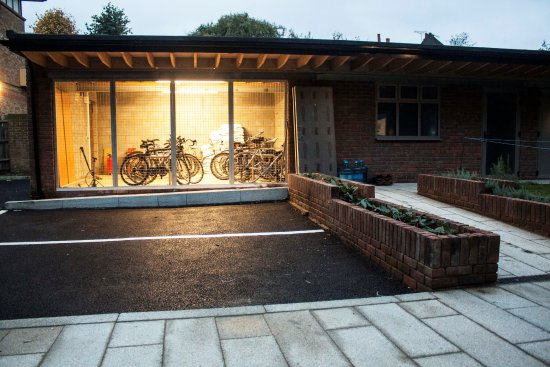 Sir John Cass Hall: Back Garden - Car and bicycle parking