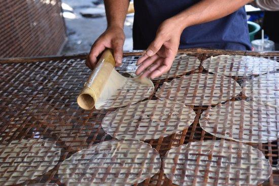 Battambang, Cambodia: Rolling our rice paper