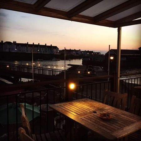 Sunset views of Aberaeron harbour from balcony