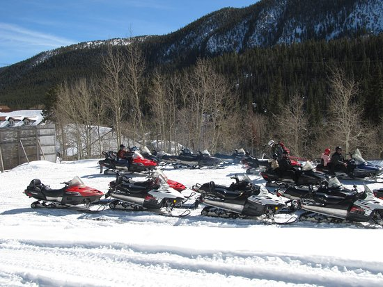 Monarch, CO: snowmobiles ready for their excursions