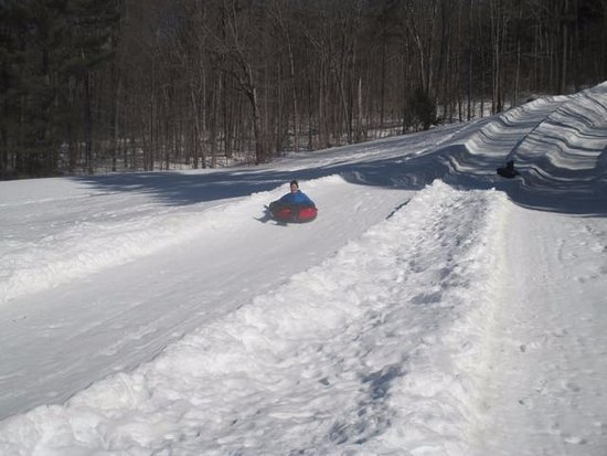 Grafton, VT: Snow tubing hill, walk up, slid down