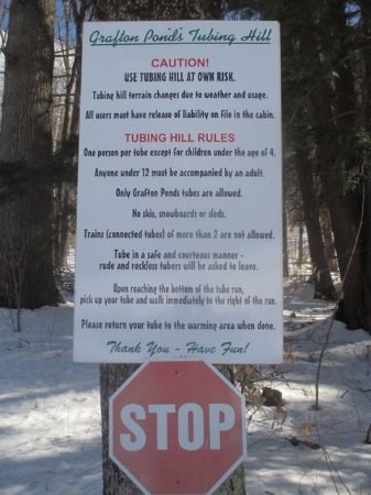 Grafton Ponds Outdoor Center: Snow tube rules