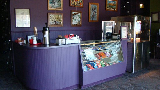 Hayward, WI: Concession stand in the lobby of the Park Theatre