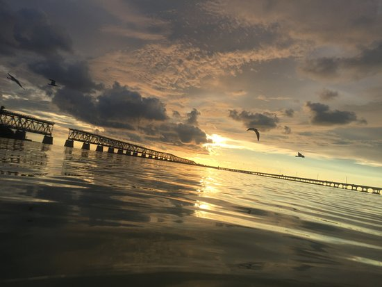 Bahia Honda State Park and Beach: Sunset over Flagler Railroad Bridge at Bahia Honda State Park