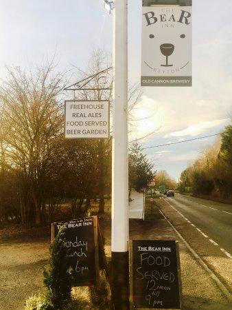 Beyton, UK: New signage at The Bear 